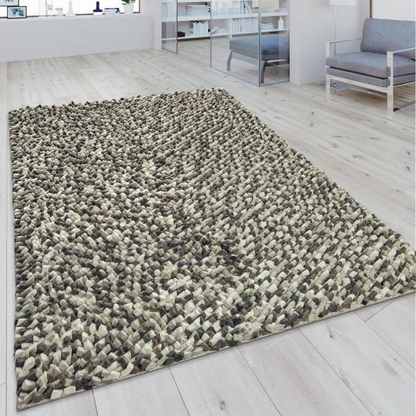 Wollteppich Mosaikoptik Grau Creme