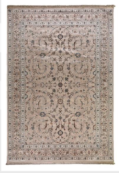 Klassischer Wohnzimmer Teppich Orient Flachgewebe Bordüre Fransen Floral Beige