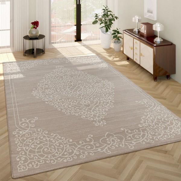 Moderner Kurzflor Wohnzimmer Teppich Ornamente Orient Muster In Beige Creme
