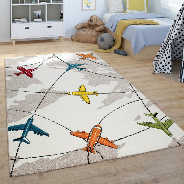 Children's Rug Short Pile Children's Bedroom Aeroplanes
