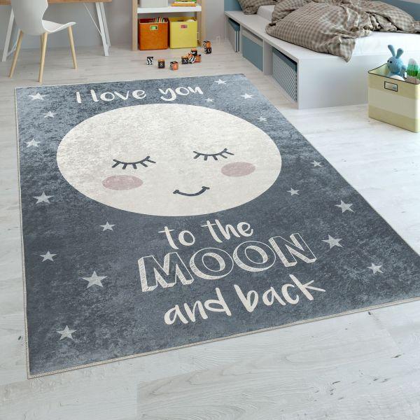 Kinderteppich Kinderzimmer Mädchen Waschbar Sterne Niedlicher Mond Spruch Grau