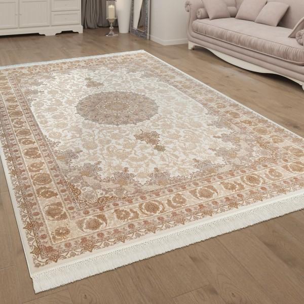 Wohnzimmer-Teppich, Kurzflor Mit Fransen Und Floralen Ornamenten In Braun Beige