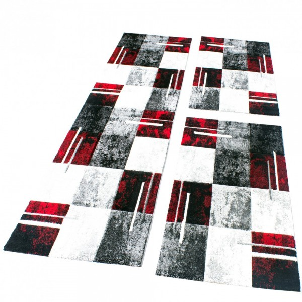 Set De 3 Alfombras Para Dormitorio - A Cuadros - Rojo Gris Negro