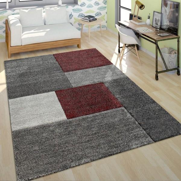 Kurzflor Teppich Wohnzimmer Modern Design Mehrfarbig Geometrisch Kariert Rot