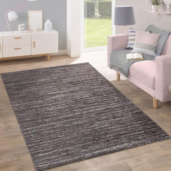 Teppich Kurzflor Modern Trendig Pastellfarben Design Meliert Einfarbig Taupe