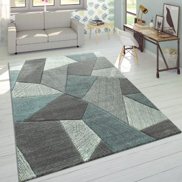 Designer Teppich Moderner Konturenschnitt Trendige Cord Optik Pastell Grau Türkis