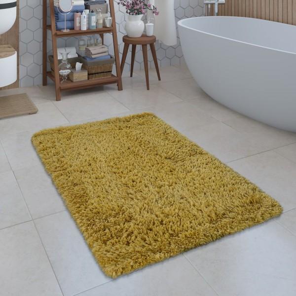 Moderne Badematte Badezimmer Teppich Shaggy Kuschelig Weich Einfarbig Gelb