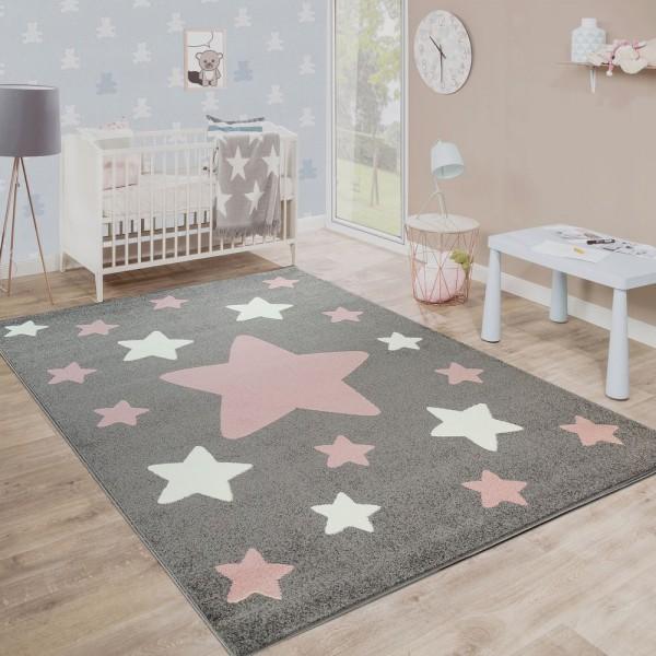 Teppich Kinderzimmer Kinderteppich Große Und Kleine Sterne In Grau Rosa