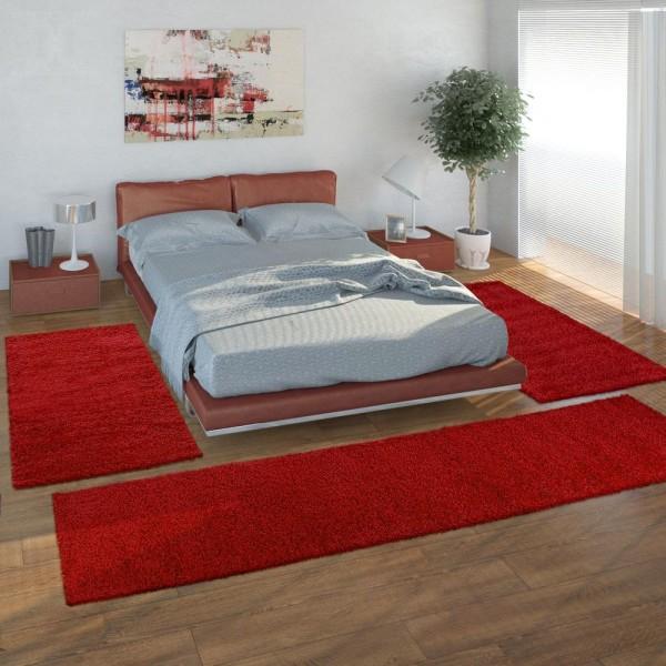 Bedside 3-Part Carpet Runner Set / Shaggy Carpet in Red