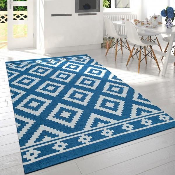 Teppich Wohnzimmer Blau Weiß Skandi Rauten Muster Baumwolle Weich Kurzflor