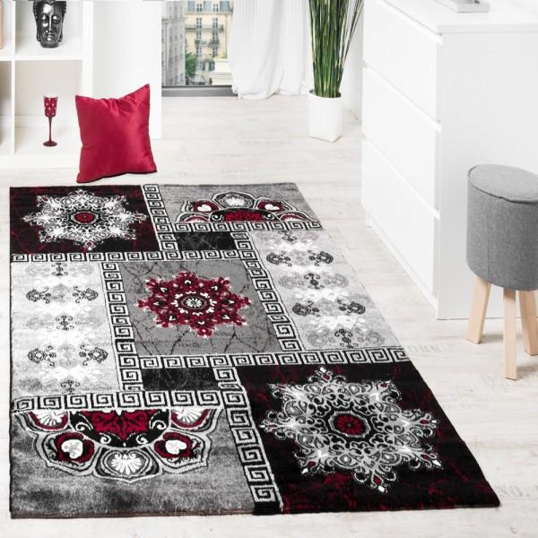 Designer Teppich Klassische Ornamente Kronleuchter Optik Rot Grau Anthrazit