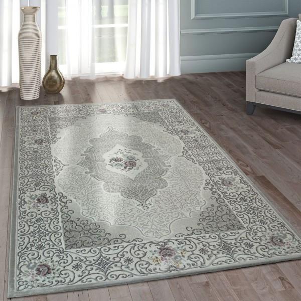 Moderner Heatset Designer Teppich Orientalisches Muster Pastell Grau Rosa Blau