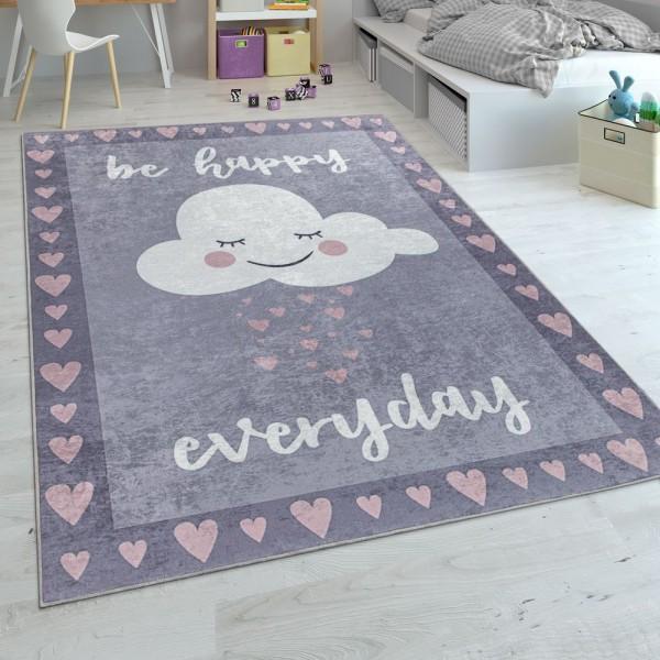 Kinderteppich, Flachgewebe Für Kinderzimmer, Spruch-Motiv Und Wolke, Grau Rosa
