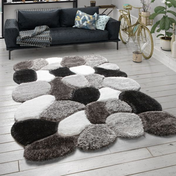 Hoogpolig vloerkleed shaggy 3D-patroon cut-out-design