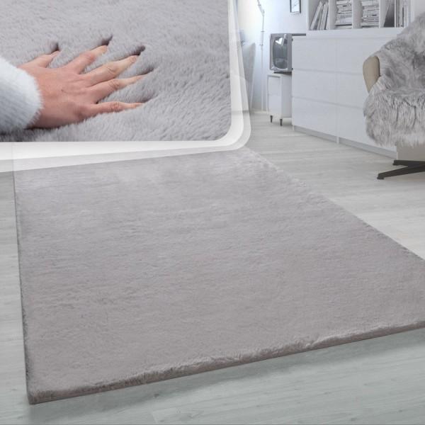Hochflor-Teppich, Shaggy-Teppich Für Wohnzimmer, Weich Einfarbig, in Grau