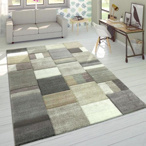 Designer Teppich Modern Konturenschnitt Pastellfarben Kariert Beige