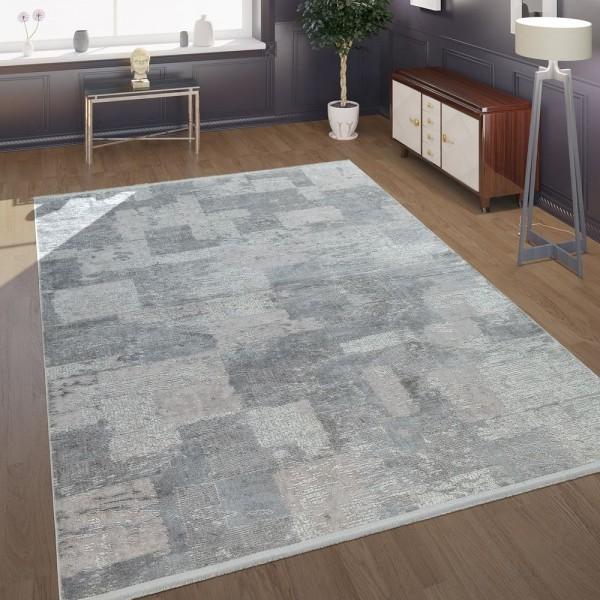 Morderner Kurzflor Wohnzimmer Teppich Im Antiken Karo Muster In Grau