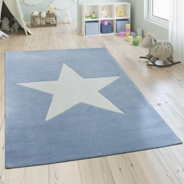 Polyacryl Teppich Sternmotiv Pastell Blau