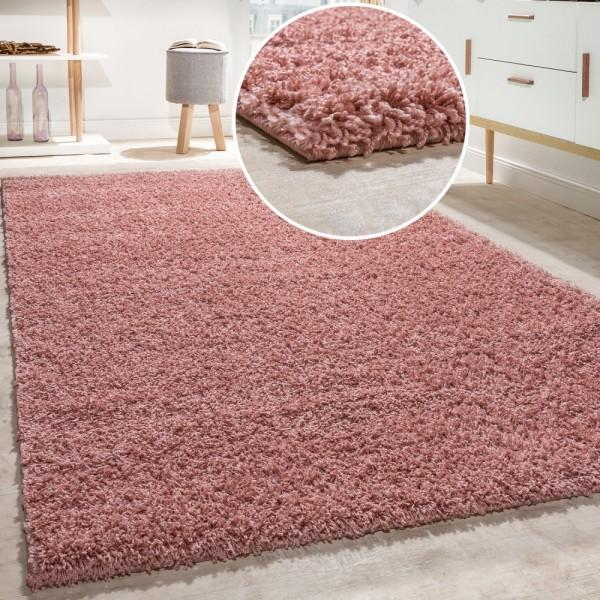 Shaggy Teppich Hochflor Langflor Hochwertig Hohe Fadendichte Uni Pastell Pink