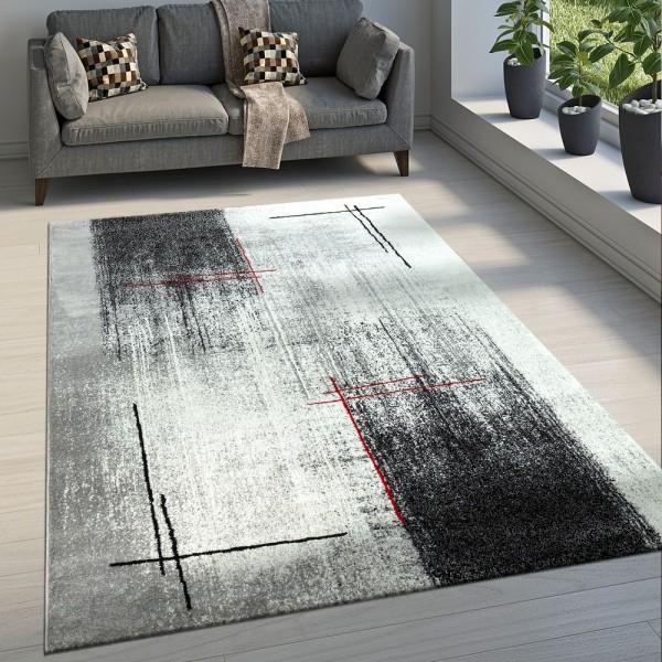Edler Designer Wohnzimmer Teppich Kurzflor Farbverlauf Abstraktes Muster Grau