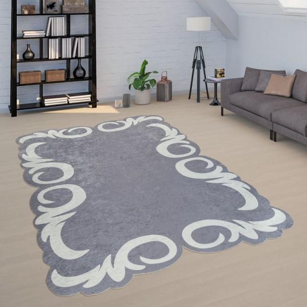 Kurzflor Teppich Grau Weiß Wohnzimmer Florale Ornamente Bordüre Strapazierfähig