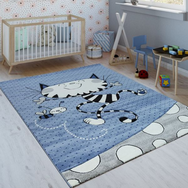 Kinderteppich Indigo Blau Trend Modern Verspielte Katze Gepunktet 3D Kurzflor