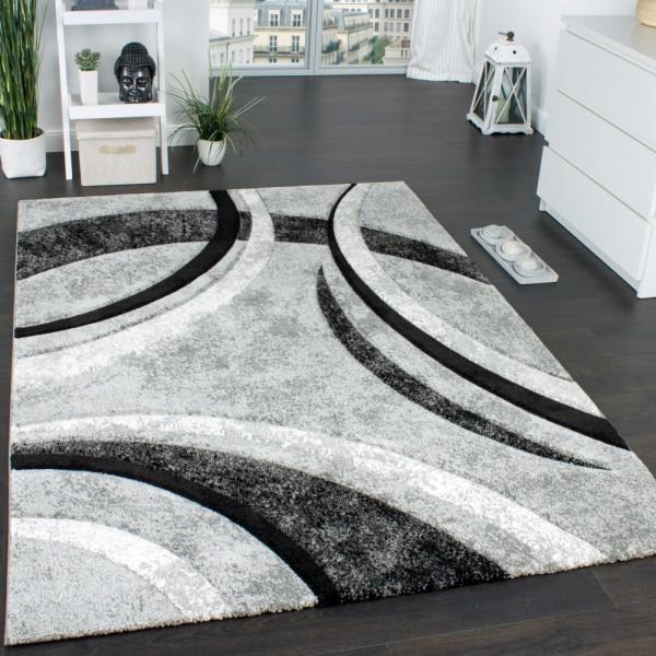 Designer Teppich mit Konturenschnitt Muster Gestreift Grau Schwarz Creme Meliert