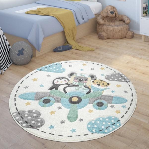 Kinderteppich Rund Teppich Kinderzimmer Sterne Tiere