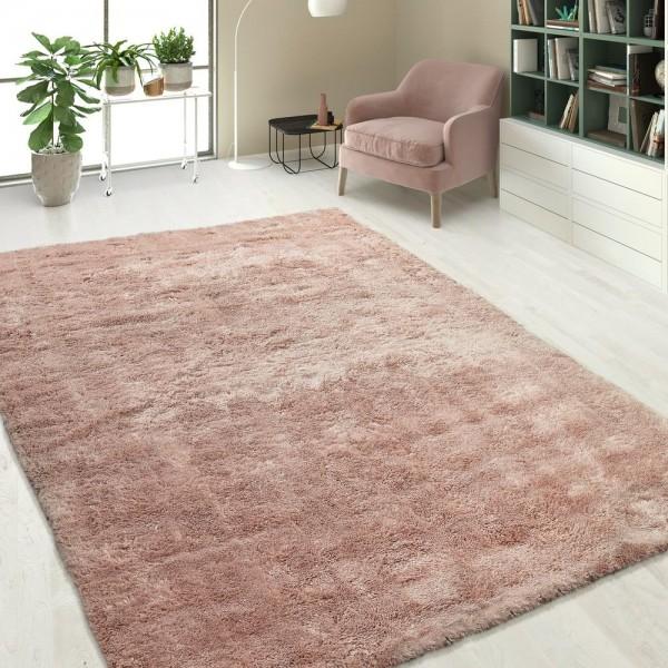 Handgetuftet Hochflorteppich Einfarbig Soft Pink