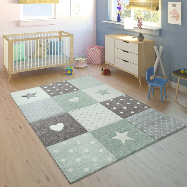 Children's Rug Checked Hearts Stars Purple Grey
