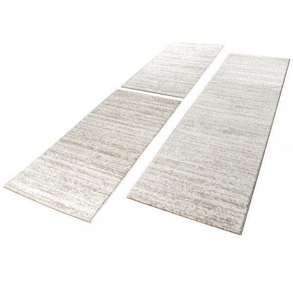Läuferset Teppich Modern Kurzflor Creme