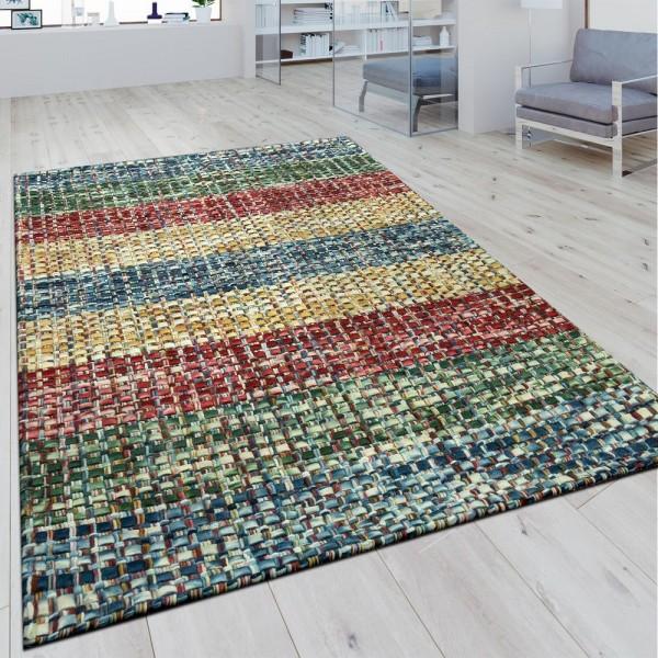 Wollteppich Flachgewebe Mosaikoptik Multicolor