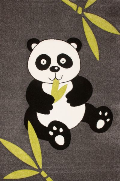 Moderner Kinderteppich Panda Bär Grau Schwarz