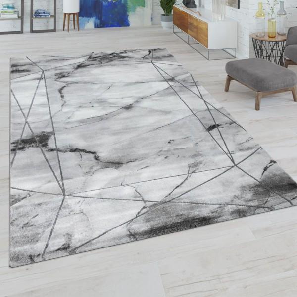 Wohnzimmer-Teppich, Kurzflor Mit Marmor-Optik Und Linien-Bordüre, In Grau Silber