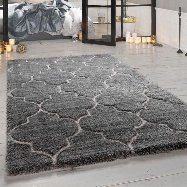 Hochflor-Teppich, Designer-Shaggy Für Wohnzimmer Mit Orient Design, In Grau
