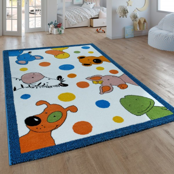 Kinder-Teppich, Kurzflor Für Kinderzimmer, Mit Sieben-Lieben-Motiv, In Weiß