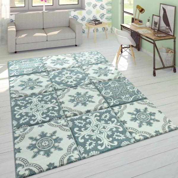 Designer Teppich Modern Konturenschnitt Pastellfarben Karo Orient Muster Blau
