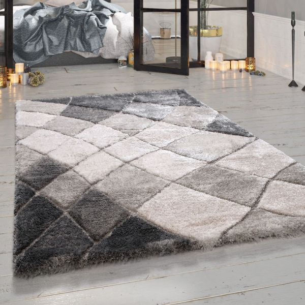 Teppich Hochflor Wohnzimmer Grau Geschwungenes Rauten Muster Flauschig Weich