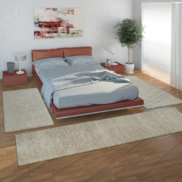 Bedside Runner Rug / 3-Part Carpet Runner Set / Shaggy Carpet in Cream