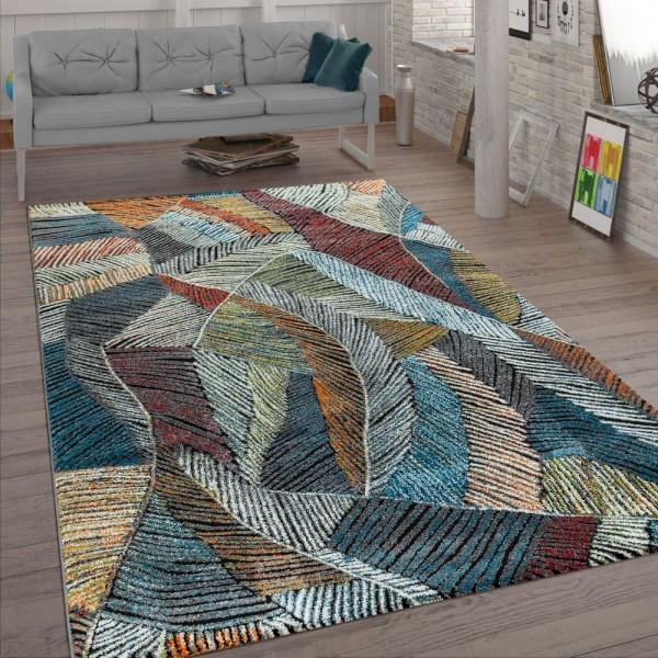 Wohnzimmer-Teppich, Kurzflor Mit Kreide-Design, Pastellfarben 3-D-Look, In Bunt