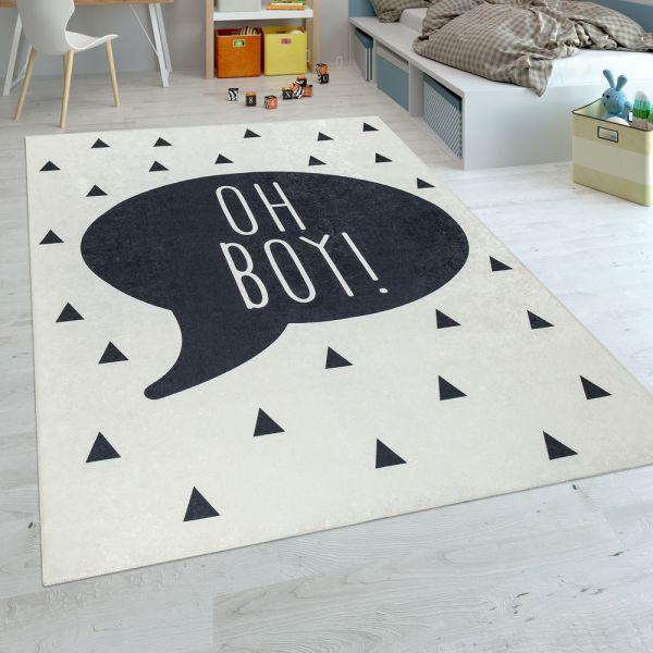 Kinderteppich Kinderzimmer Jungen Babyteppich Waschbar Spruch Trend Schwarz Weiß