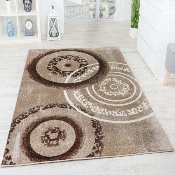 Designer Teppich Modern Kreisform Braun Beige Creme Top Preis