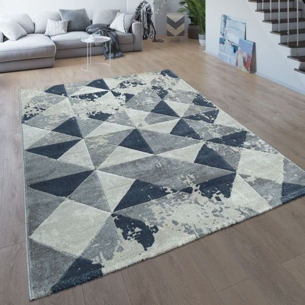 Wohnzimmer-Teppich, Kurzflor Mit Modernem Karo-Muster, Meliert In Grau Und Blau