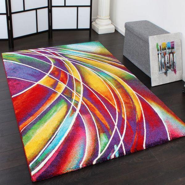 Teppich Modern Designer Teppich Bunter Farbmix Gemustert Mehrfarbig