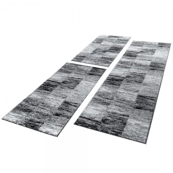 Läuferset Teppich Karo Meliert Grau