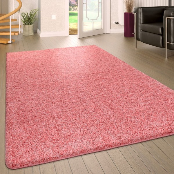 Hochflor Wohnzimmer Teppich Waschbar Shaggy Rutschfest Einfarbig In Pink