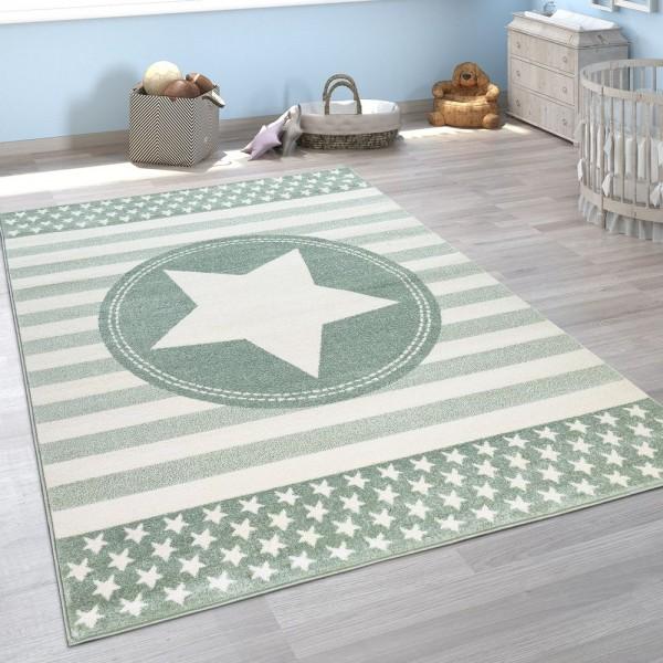 Kinderzimmer Teppich Grün Streifen Muster Pastell Stern Design Robust Kurzflor