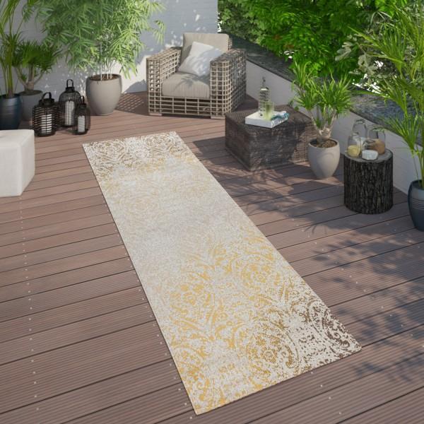 In- & Outdoor Teppich Orient Muster Gelb Creme