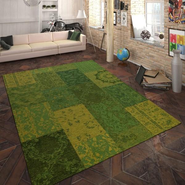 Teppich Flachgewebe Patchwork Grün