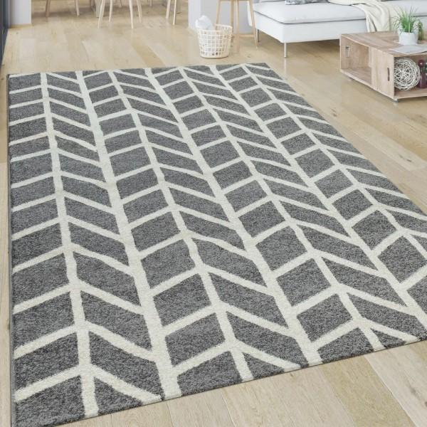 Teppich Wohnzimmer Geometrisch Modern Kurzflor Streifen Muster In Grau Weiß